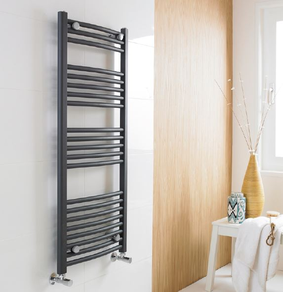 Anthracite Heated Ladder Towel Radiator